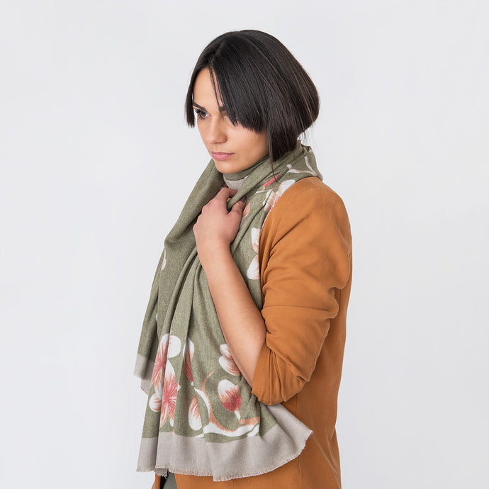 Naomi Ladies Wrap Green / Orange