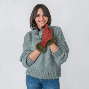 Ellen Gloves with Fur Edge Rust / Green