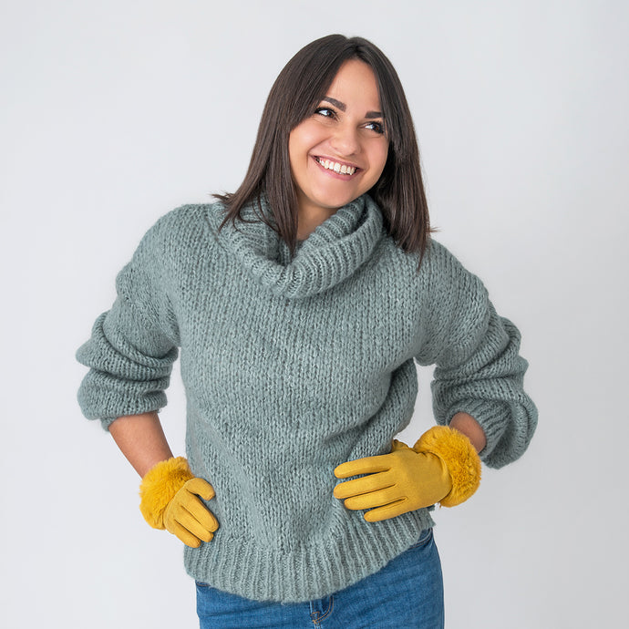 Viola Gloves with Fur Edge Ochre