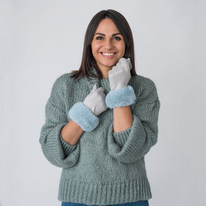 Carole Gloves with Fur Edge Blue / Grey