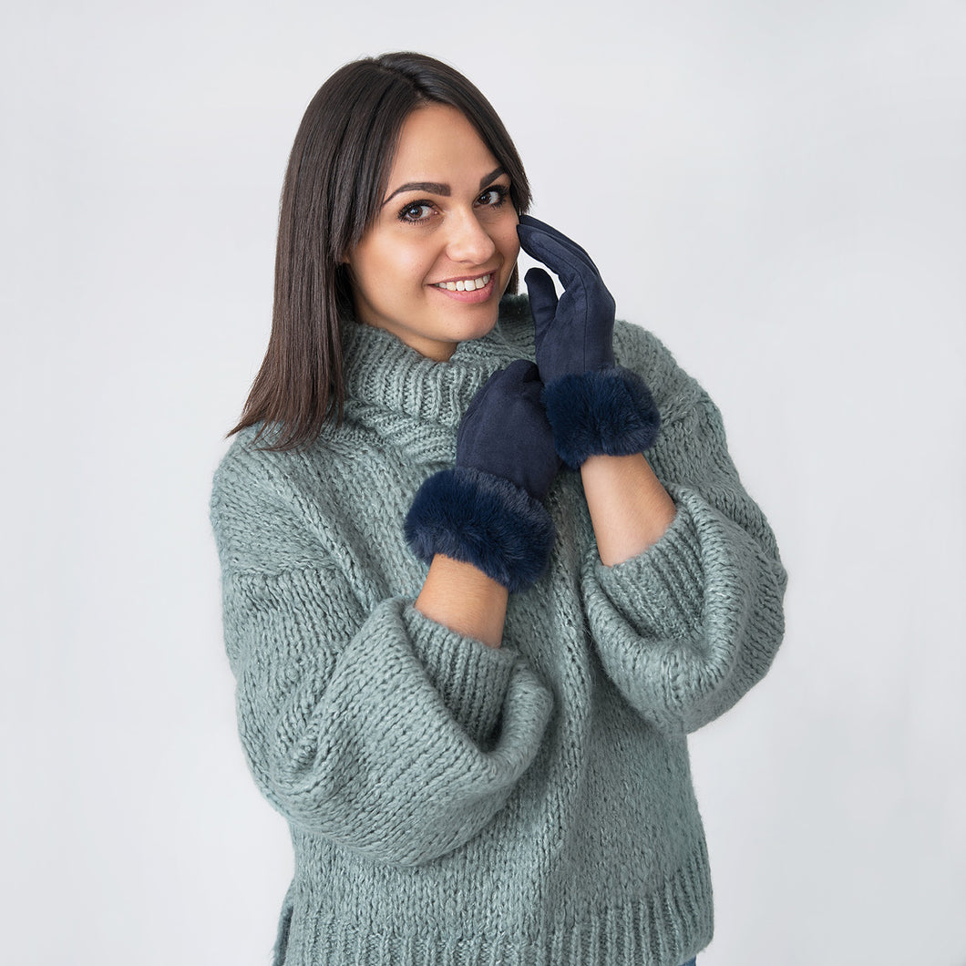 Hazel Gloves with Fur Edge Navy