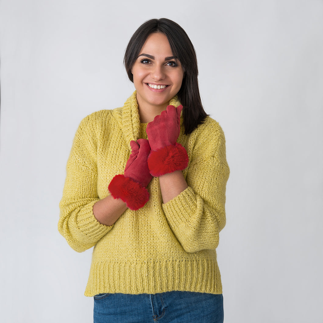 Helen Gloves with Fur Edge Red