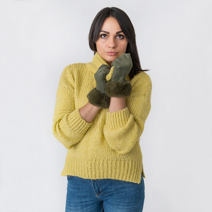 Dora Gloves with Fur Edge Green