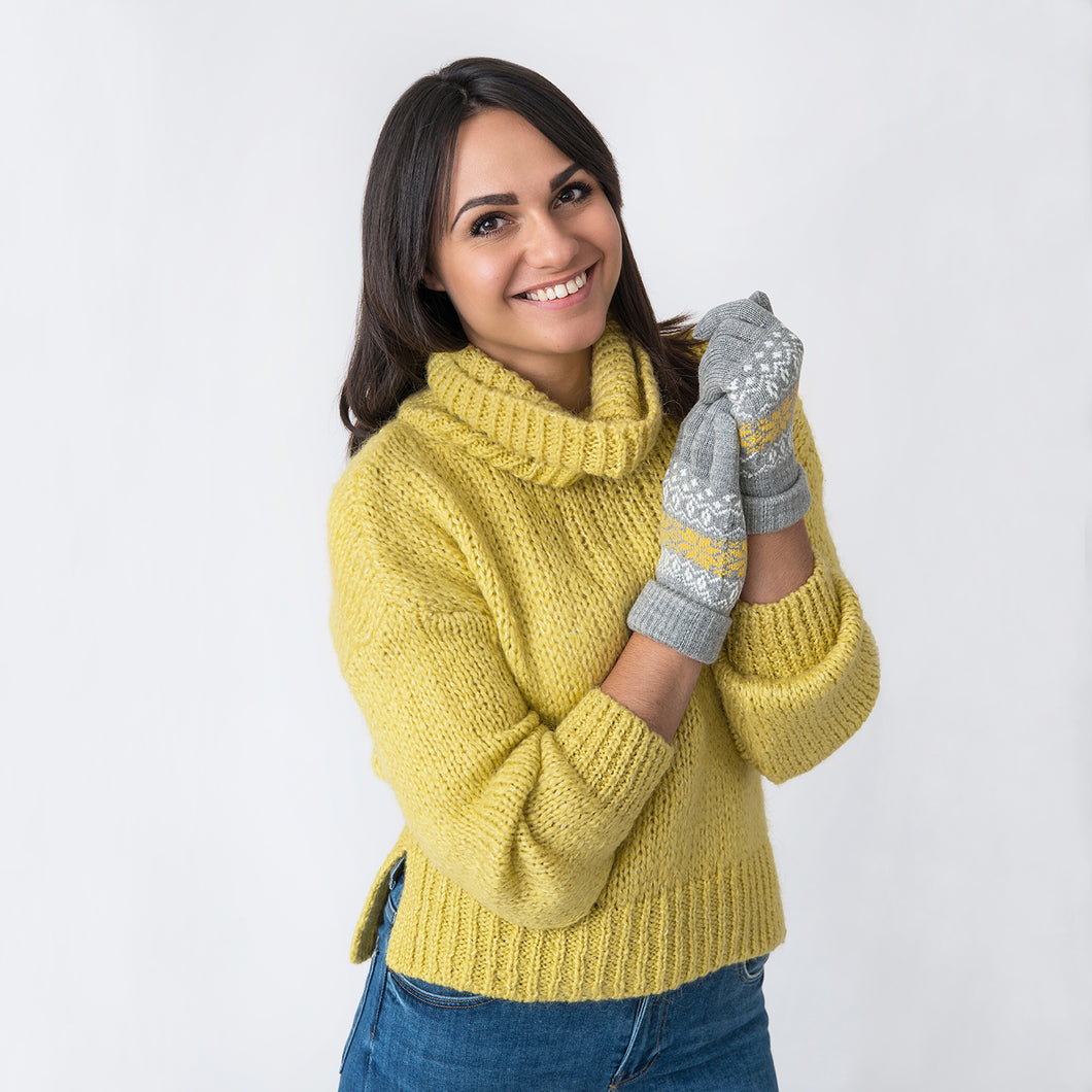 Snowflake Grey / Mustard Gloves