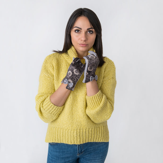 Trixie Patterned Gloves with Bow Lilac