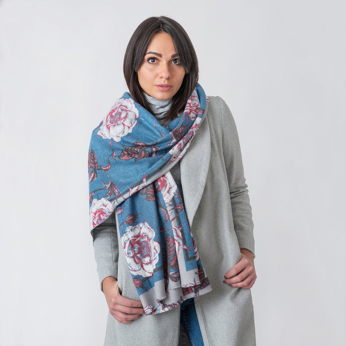 Stella Blue Large Rose Ladies Wrap