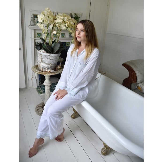 White Ladies Pyjamas With Mint Scalloped Edge