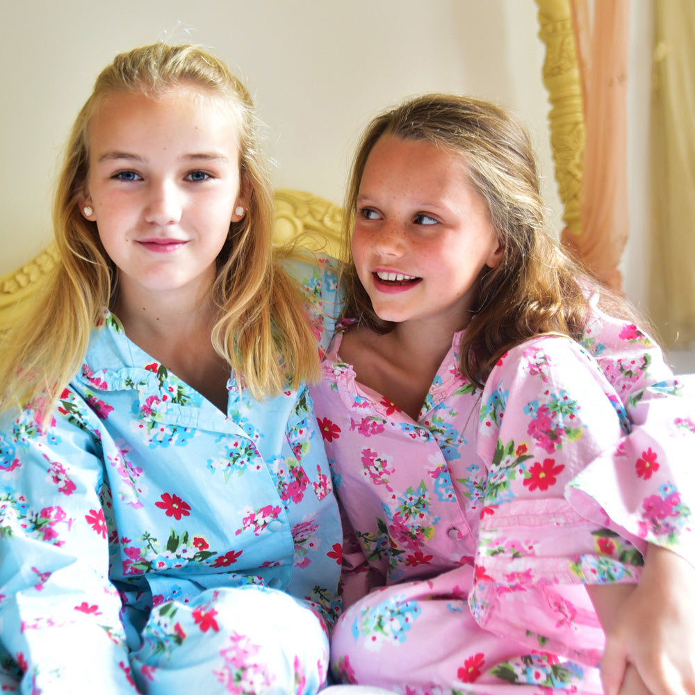 Girls Blue Floral Print Pyjamas