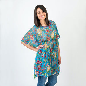 Matilda Hand Embroidered Tunic Turquoise One Size