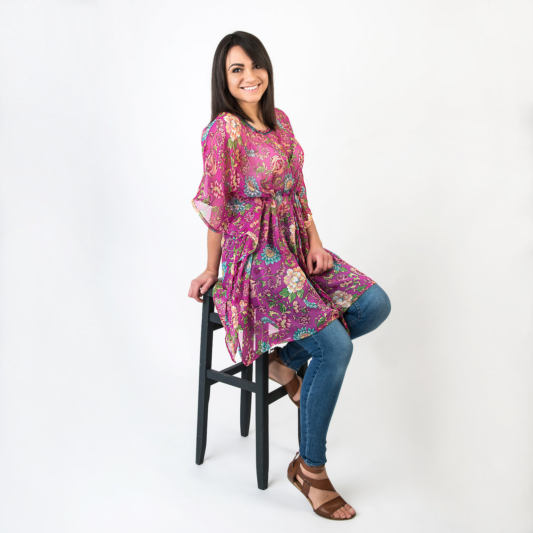 Matilda Hand Embroidered Tunic Cerise One Size