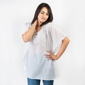 Emma White Embroidered Tunic One Size
