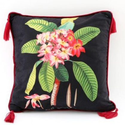 Botanical Print Tassel Cushion (A)