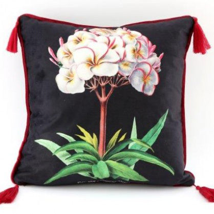 Botanical Print Tassel Cushion (B)