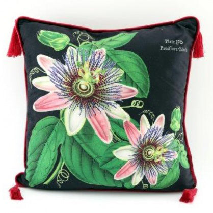Botanical Print Tassel Cushion (C)