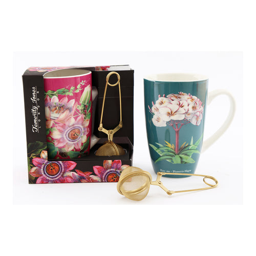 Botanical Mug/ Tea Strainer Set Blue