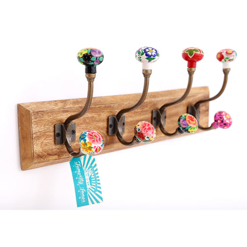 S/4 Mexican Floral Hooks On Base