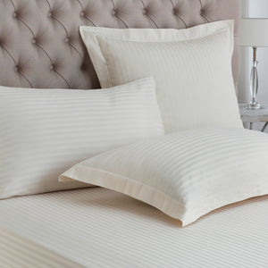 Satin Stripe Natural Pillowcase Pair - Oxford