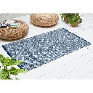 Diamond Rug made from Recycled Fabrics Navy