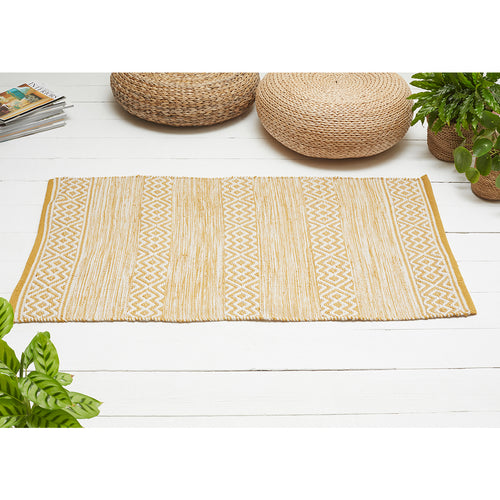 Diamond Design Rug made from Recycled Plastic Bottles Ochre