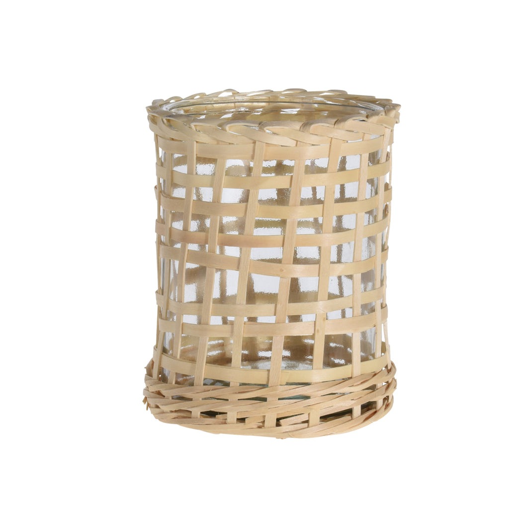 Glass Lantern in Wicker Basket