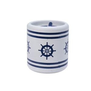 Candle in Ceramic Pot - Ship Wheel