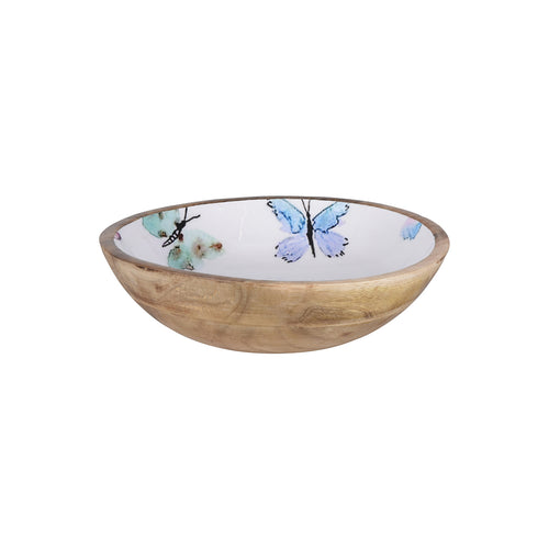 Mango Wood Bowl with Butterfly Print Medium