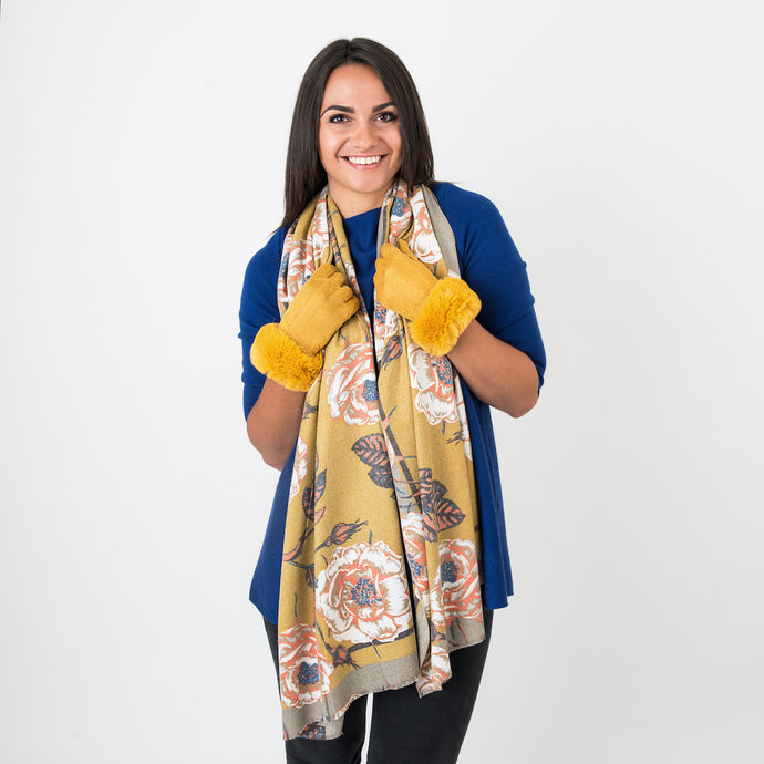 Carrie Ochre Large Rose Ladies Wrap
