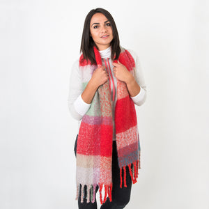 Betty Red Check Woven Wrap