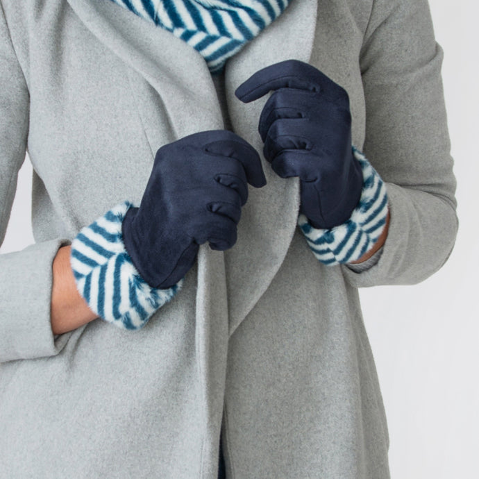 Sadie Zebra Print Navy Gloves