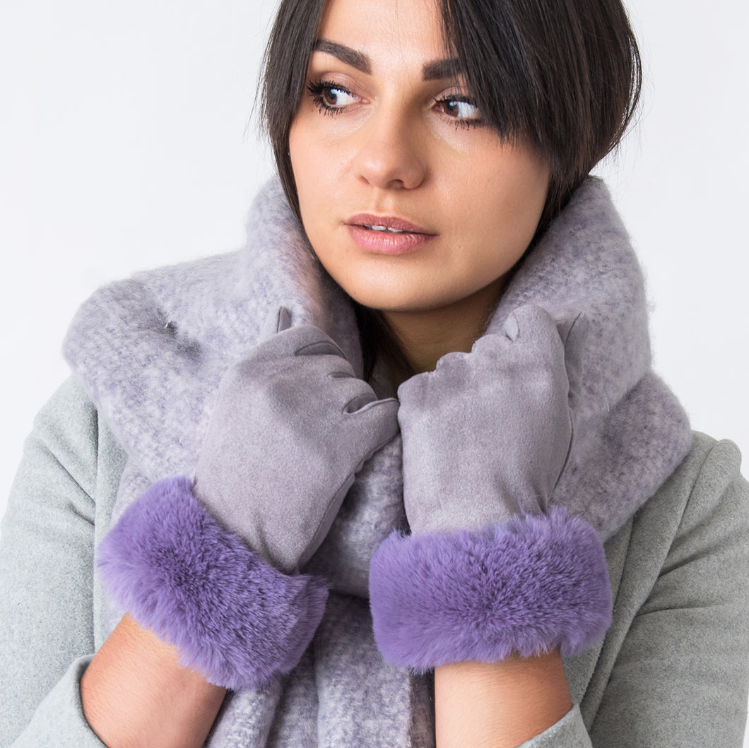 Ruth Gloves with Fur Edge Grey / Lilac