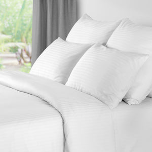 Satin Stripe White Duvet Cover