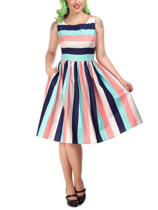 Vintage Babe PinUp Girl Style Fit & Flare Striped Swing Dress