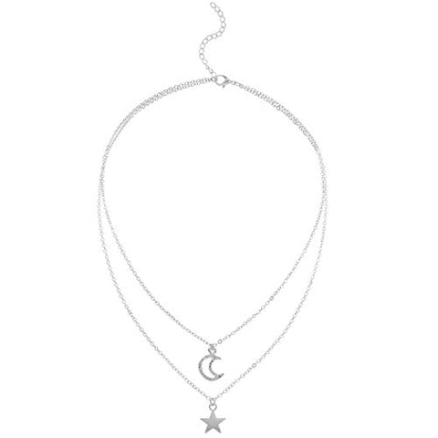 Yalice Layered Crescent Moon Necklace Chain Simple Star Necklaces Jewelry for Women and Girls (Silver)