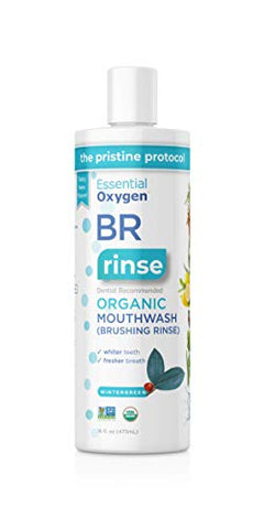 Essential Oxygen BR Certified Organic Brushing Rinse, All Natural Mouthwash for Whiter Teeth, White, Wintergreen, 16 Ounce (Pack of 1)