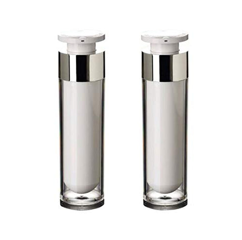 2PCS Empty Refill Upscale Acrylic Airless Vacuum Pump Cream Lotion Vial Bottle Jars Bayonet Eyecream Toner Cosmetic Toiletries Liquid Storage Hoder Containers Makeup Foundation Dispenser(50ml/1.7oz)