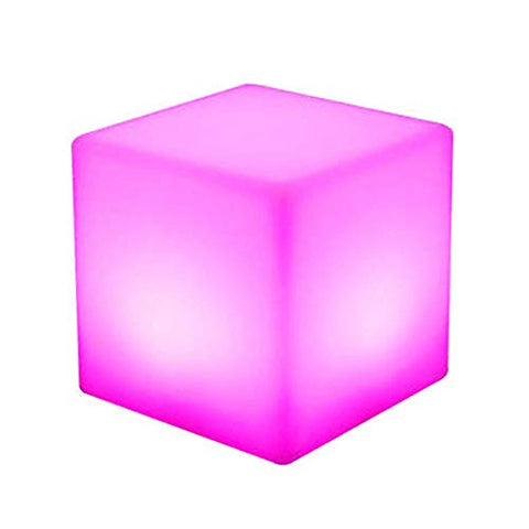 Paddia Creative LED Stool Outdoor Party Night Light Decorative Lighting for Home Kids Bedside Bedroom Discoloration Cube Light Colour Changing Mood Lamp Garden Bar Furniture Seat