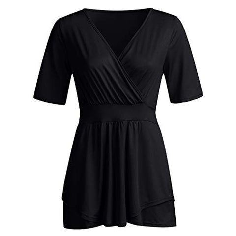 haoricu Womens Plus Size Tops V Neck Wrap Short Sleeve Shirts Casual Loose Top Tunic Blouses Soft Comfortable Bottoming Shirt Black