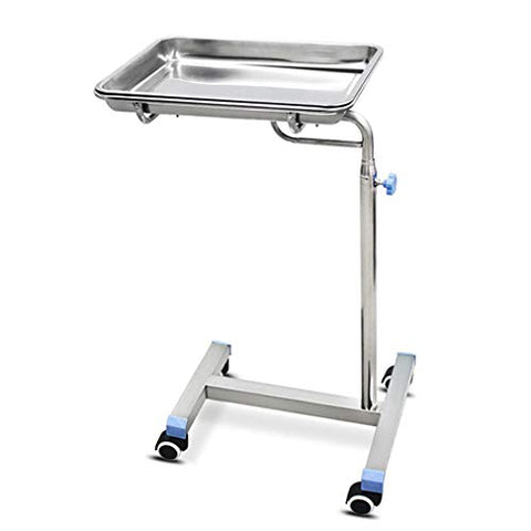 HORV Removable Stainless Steel Trolley Surgical Procedures Clinic Spa Salon Instrument Equipment Adjustable Height Metal Cart with Flat Lid for Medical Supplies and Catheters