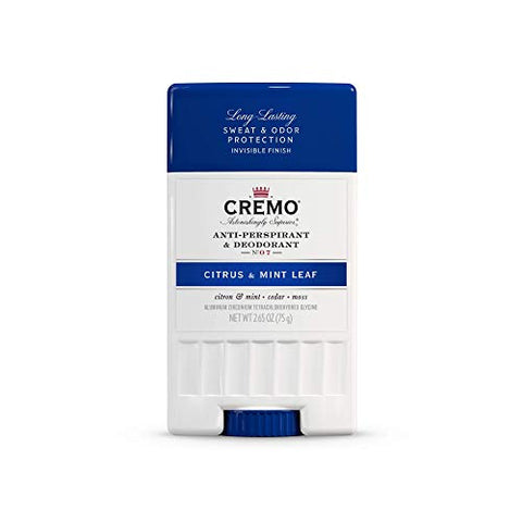 Cremo Citrus & Mint Leaf Anti-Perspirant & Deodorant, Long-Lasting Sweat & Odor Protection, 2.65 Oz