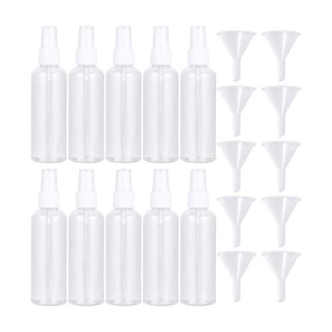 Minkissy 8pcs 100ml Empty Atomizer Bottle Plastic Transparent Spray Bottle for Trip Travel Home Makeup Containers with 8pcs Funnel