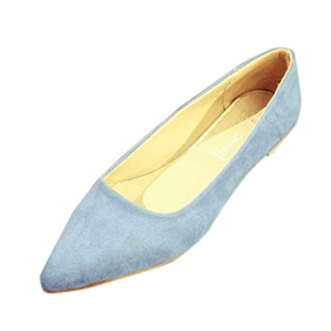 Xinantime Womens Suede Pointed Small Single Shoes Flat Bottom Shallow Mouth Shoes (Blue,35)