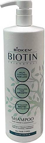 Bioken Thick & Full Hair Growth Enhancer Biotin Shampoo   All Hair Types, Helps Control Hair Loss, S