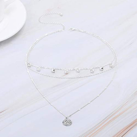 Yalice Layered Crystal Dangle Necklace Chain Disc Pendant Necklaces Jewelry for Women and Girls (Silver)