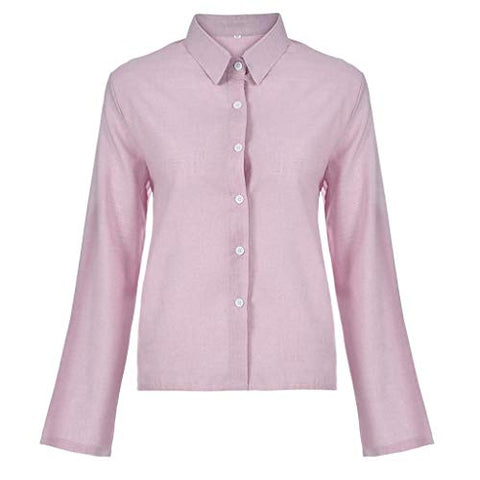 terbklf Button Down Shirts for Women Womens Sexy Solid Stand Collar Long Sleeve Pullover Shirt Tops Ladies Basic T Shirt Pink