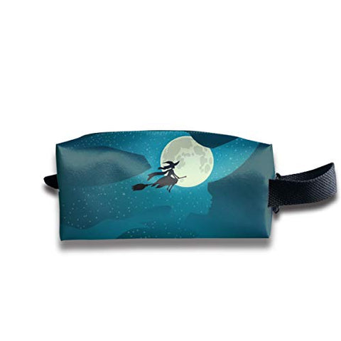 Taslilye Halloween Witch Flies On Broomstick Full Moon Customized Cosmetic Bag Portable Printing Bag for Women's Storage