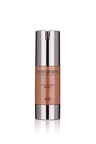 Bodyography Foundation Primer (Tahitian Glow): Bronzing Anti-Aging Salon Makeup Primer w/ Vitamin E, A, Jojoba, Grapeseed Oil | Enhance Your Natural Glow | Gluten-Free, Cruelty-Free