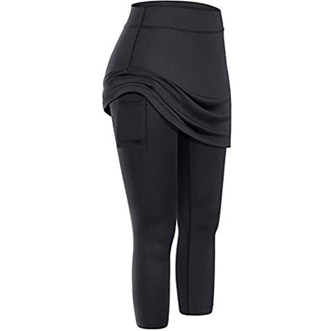 Cenglings Skirted Legging for Women, Yoga Legging with Skirts & Women's Tennis Leggings High Waist Pants with Pockets Black
