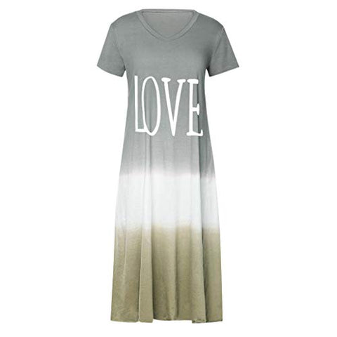 Tie-Dyed Maxi Dresses for Women Oversized Color Block Letter Print Long Dress Loose V Neck Short Sleeve Gray