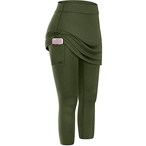 Cenglings Skirted Legging for Women, Yoga Legging with Skirts & Women's Tennis Leggings High Waist Pants with Pockets Army Green