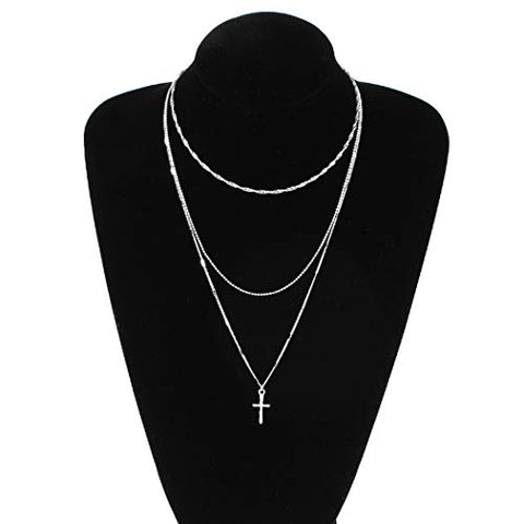 Jovono Multilayered Cross Pendant Necklaces Boho Necklace Fashion Chain Jewelry for Women and Girls (Silver)